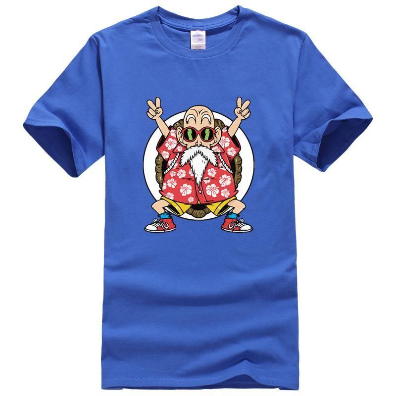 Camiseta Homens engraçado Mestre Kame T-shirt Mestre Kame Cotton Verão Tops Japão Anime masculino Camisetas Marca cobre T Z
