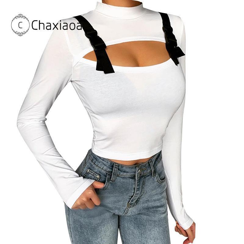 CHAXIAOA Street Style Sexy Solid выдалбливают Moto с длинным рукавом Тонкий водолазки футболки Crop женщин Осень Trend Полный рукава Tee X99