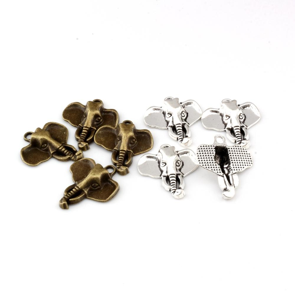 Encantos cabeza de elefante colgantes 50Pcs / lotes 22.8x26.2mm plata antigua / bronce antiguo de la joyería de la aleación de la manera DIY collar de las pulseras Fit A-296