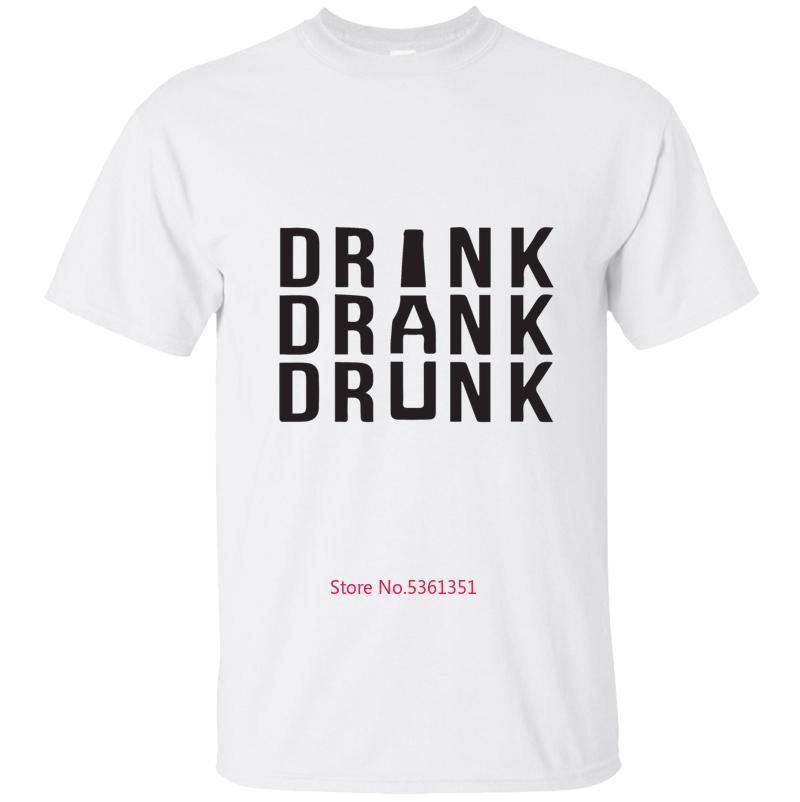 Gli uomini maglietta di modo Drink Drank T-shirt Ubriaco maglietta di base solido collo rotondo Estate Homme Big Taglie Hip Hop Camisetas Hombre
