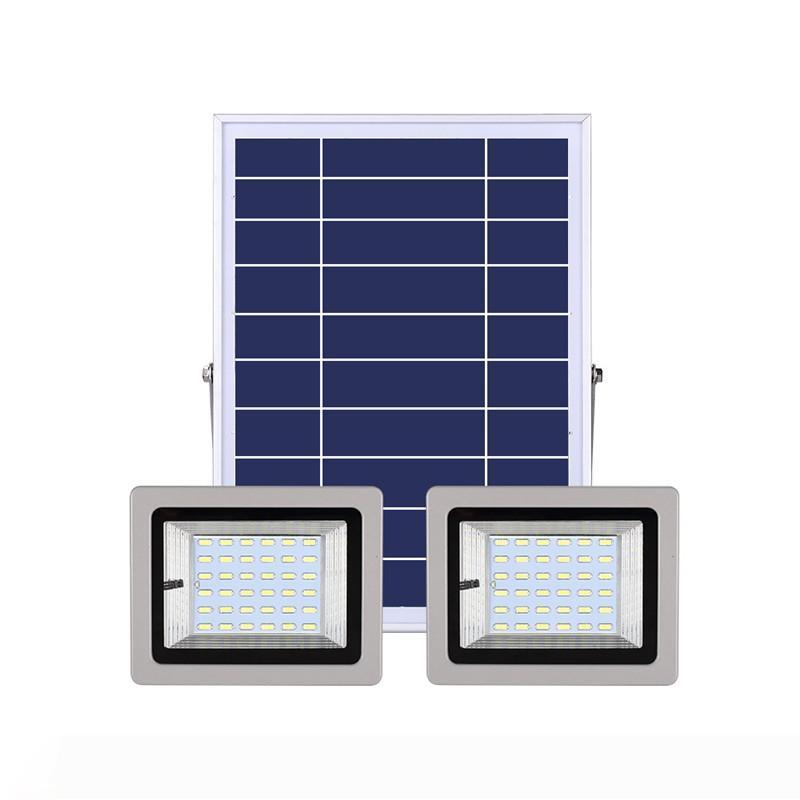 Double Head Lights Waterproof Outdoor Solar LED Flood Light with IR Remote Control Solar Garden Path Street Landscape Lamp