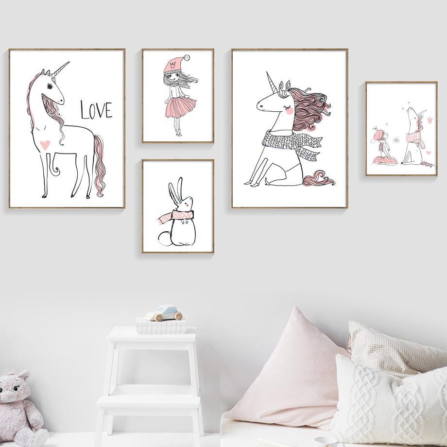 Karikatur-Mädchen-Einhorn Poster und Drucke Wand-Kunst-Leinwand-Malerei Nordic Poster Leinwanddrucke Wandbilder Baby-Kind-Raum-Dekor