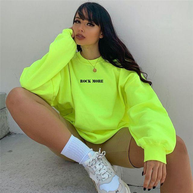 YICIYA beiläufige Maxi-Hoodie Neongrün Brief drucken Hip Alphabet print top Hop Street Lange Sweatshirts Frauen abrufen Top T200722