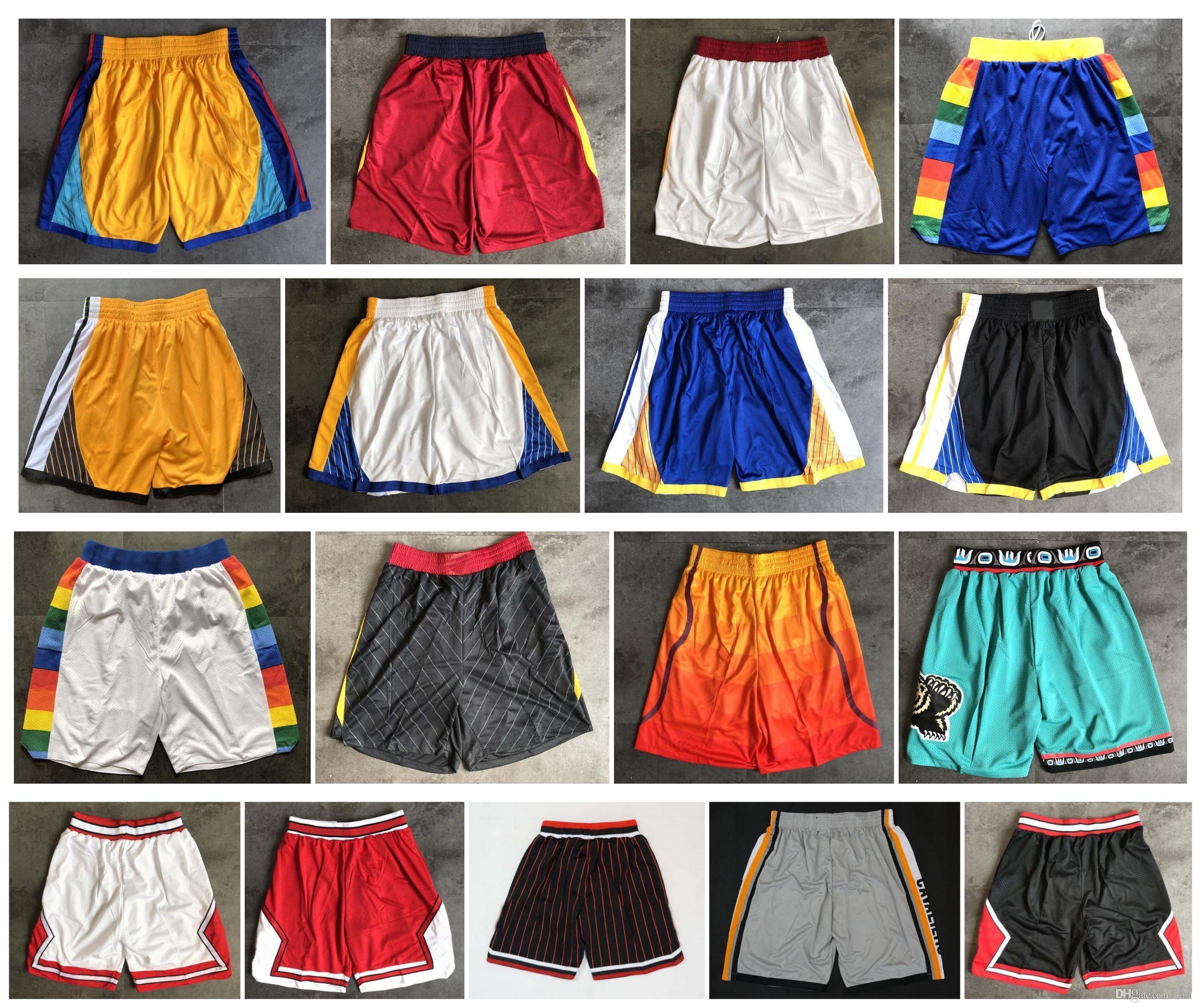 De calidad superior! 2020 Pantalones equipo de baloncesto Pantalones cortos Hombres Pantalones cortos del deporte de la universidad azul púrpura rojo blanco negro verde
