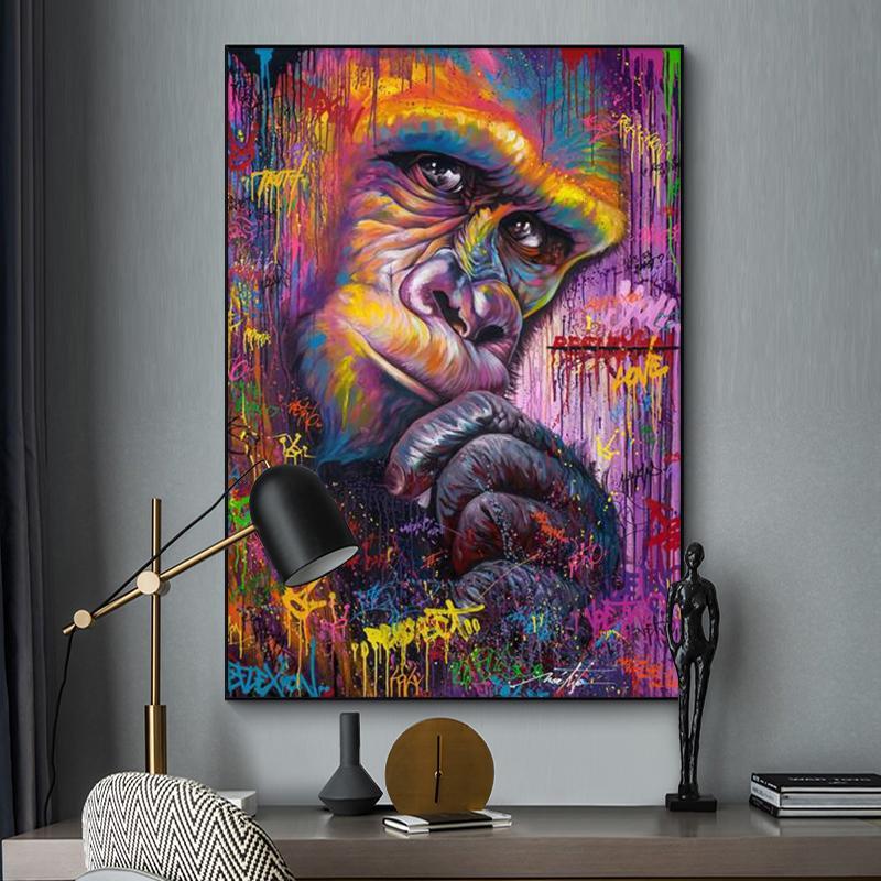 Pensando Arte orangután pared de la pintada lona de pintura del arte abstracto animal cartel de la lona de impresiones de fotografías Para Niños habitación Decoración