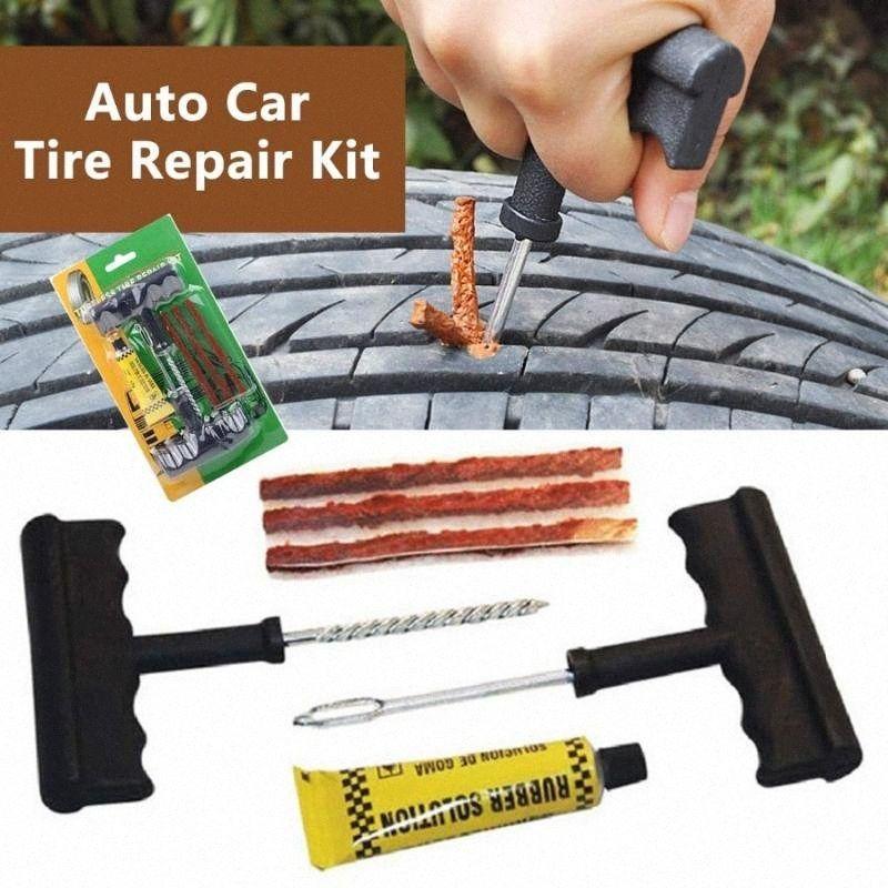 Neumático de coche Herramientas de reparación de neumáticos sin cámara del coche de reparación de neumáticos Plug Kit de agujas Patch Fix herramienta Cement conjuntos de útiles de neumático auto 0WlK #