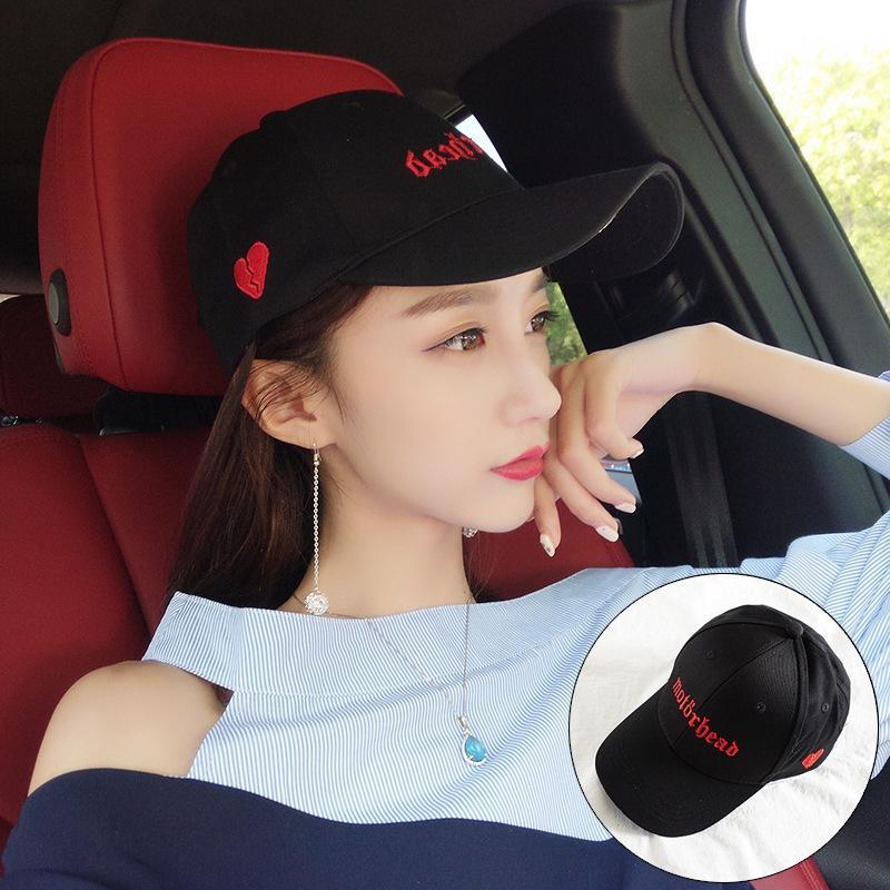New coreano estilo all-jogo proteção do sol de verão bordado casal amor chapéu protetor solar Baseball cap boné de beisebol das meninas