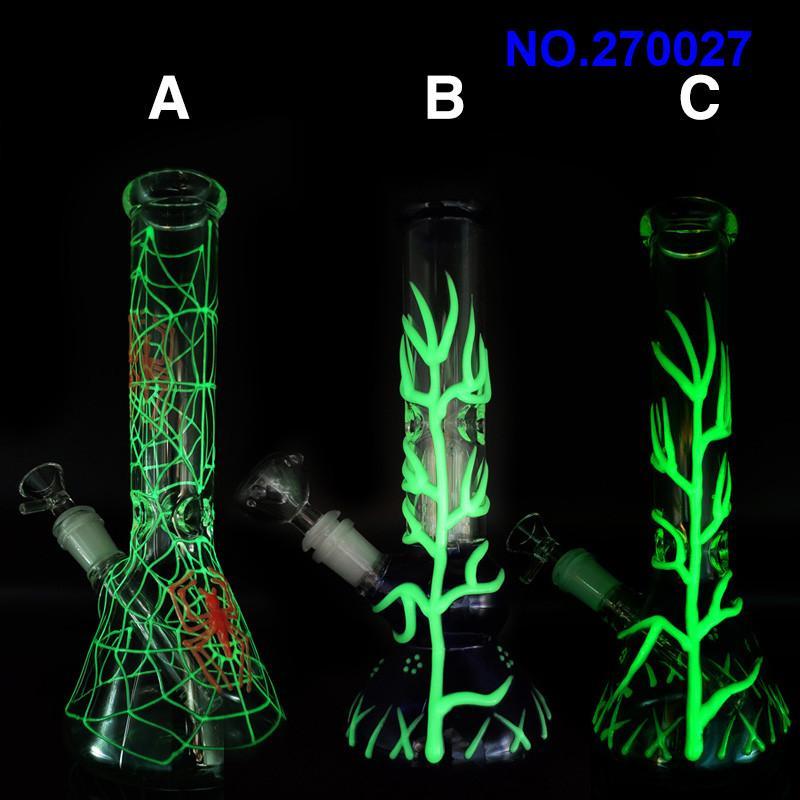 tubería de agua de cristal bong brillar en 10,5 pulgadas pipas de vidrio de color verde oscuro con 14mm de cristal Jolint Downstem y el cuenco del envío libre ZX