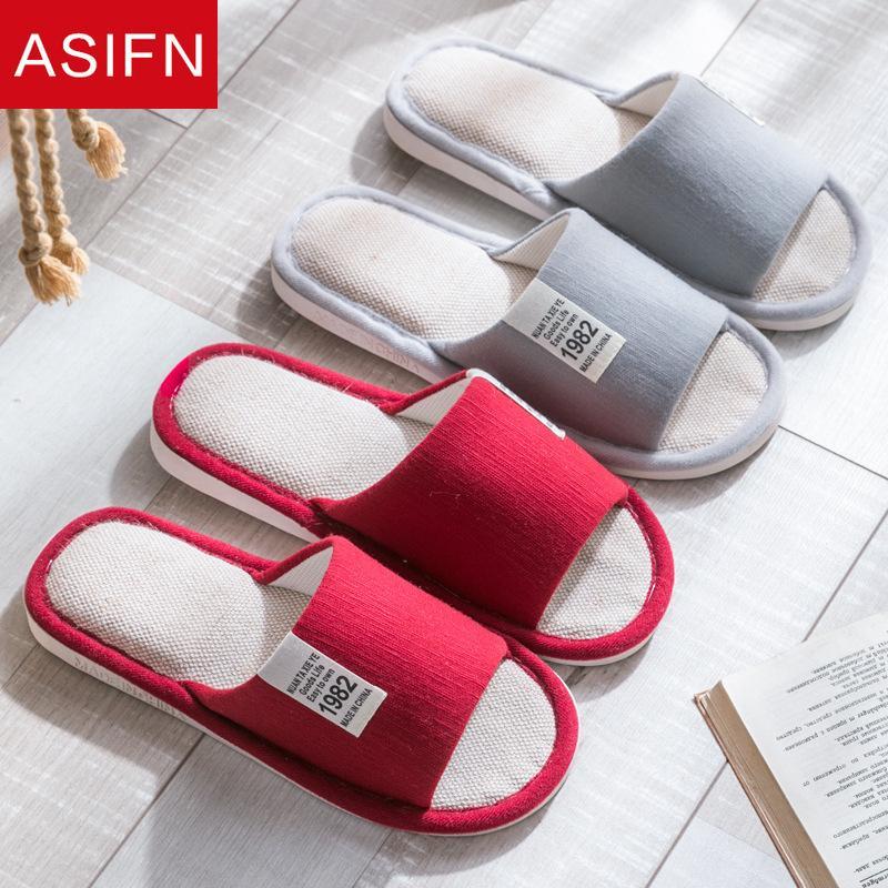 ASIFN Mulheres Chinelo homens não Slip Ladies interior falhanços Primavera Zapatos de mujer Moda Mulas Chaussures Linho Slides