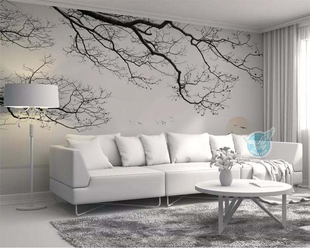 beibehang Özel duvar kağıdı İskandinav minimalist el boyaması kar düşen dalları deniz manzara TV arka plan duvar kağıdı 3d