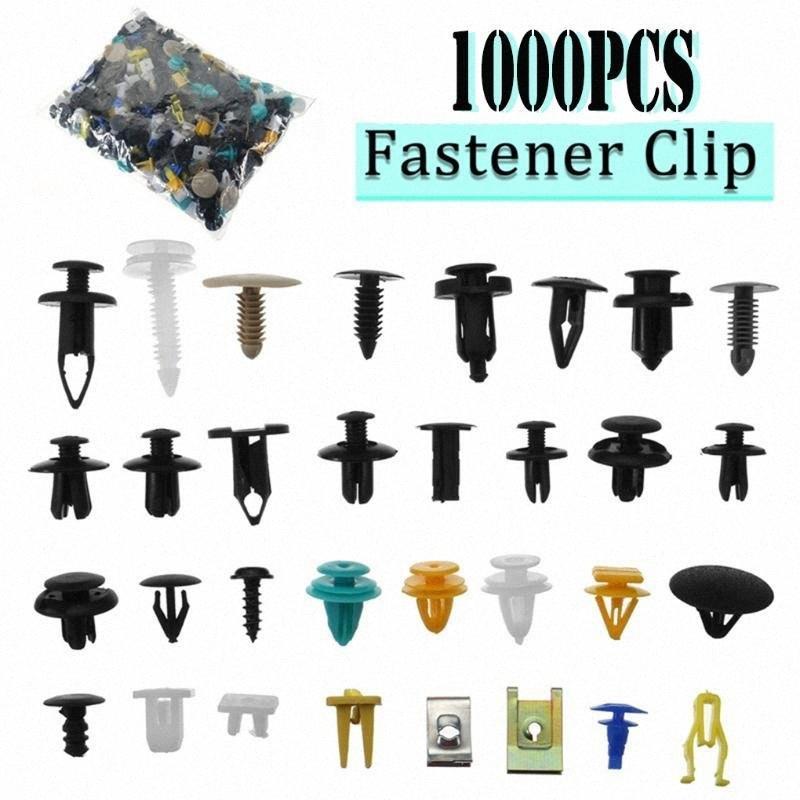 1000pcs / set push Automotive Plastic Rivet Car Fender paraurti interni tagliare clip Pin Kit Accessori auto con 6 pollici strumento 01rj #