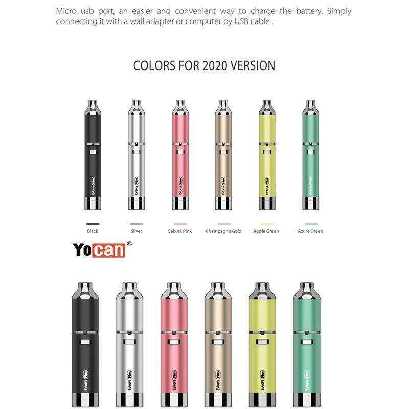 Original Yocan Evolve Plus Wax Vape Pen Kit With 1100mAh Battery QDC Wax Coils Vaporizer Quartz Dual Coil wax dab pen kits