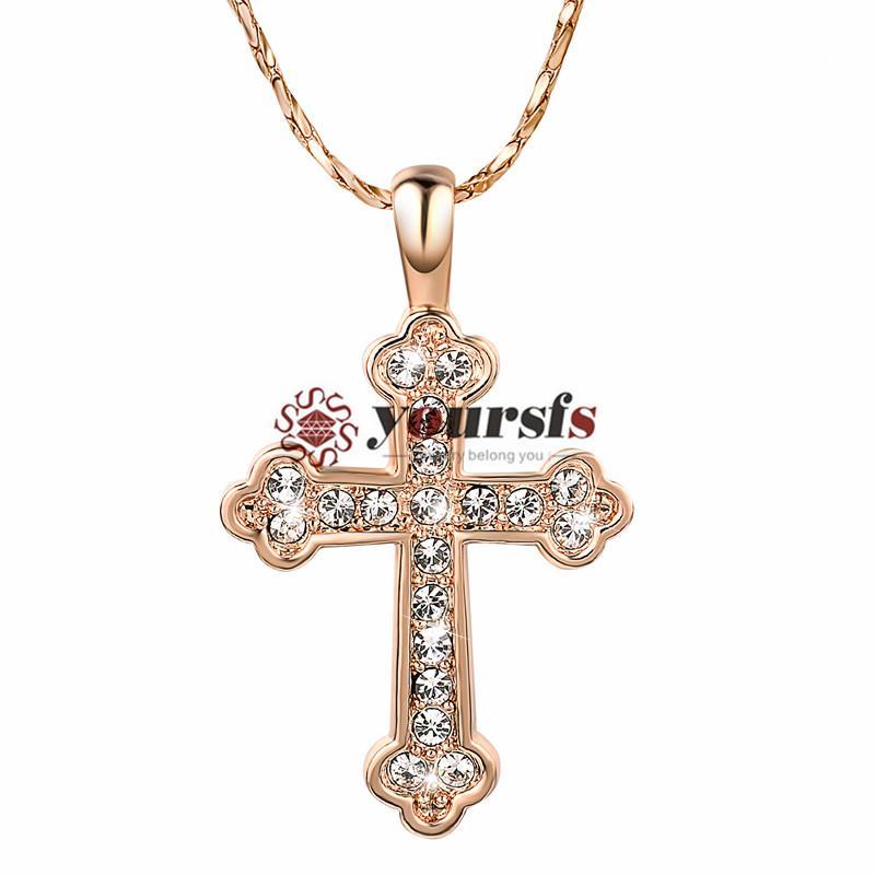 Yoursfs Fashion Lady Chapado en oro 18k Cross Cross Circon Necklace Colgante Diseño Unique Aniversario Vacaciones Regalo de Cumpleaños