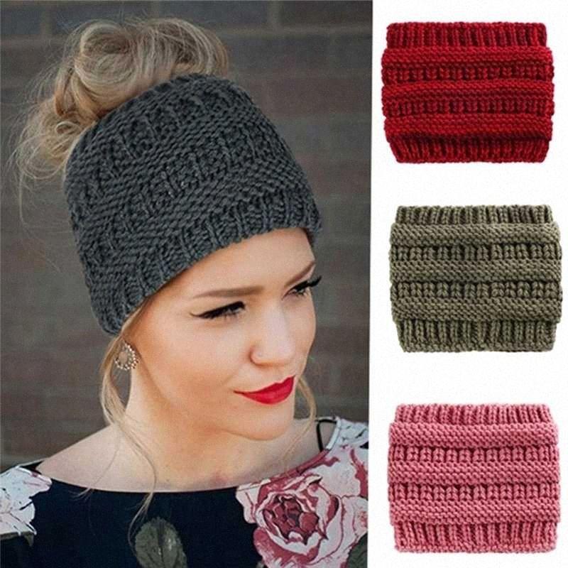2020 Nova Mulheres estiramento de malha Crochet Gorros Chapéus de Inverno para mulheres Chapéus Cap Quente Senhora Messy Bun p9S4 #