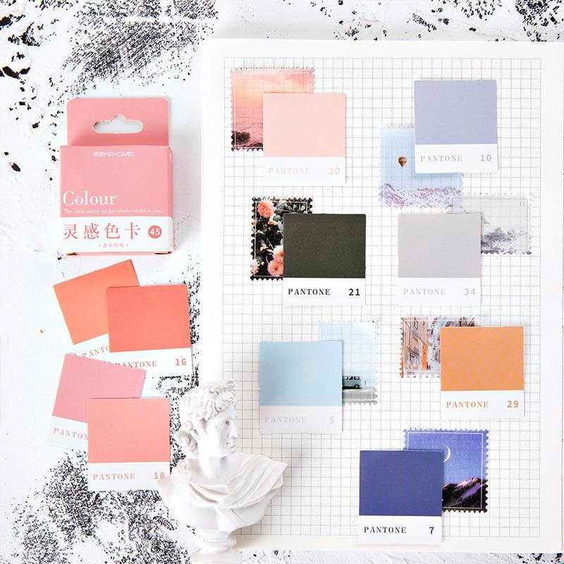 Pantone Çıkartma Seti 44mm Mini Renk Kart Çıkartma Etiket Etiket Dekorasyon Mühür Dergisi Günlüğü Kitap Okul Öğrenci Hediye A6398