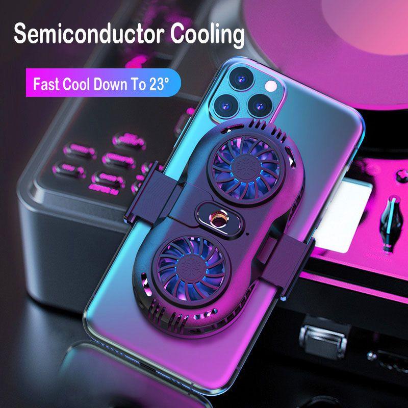 Мобильный телефон Охладитель 2 вентилятора Держатель Cooling Pad Геймпад Game Gaming Shooter Mute контроллер радиатора Радиатор для iPhone Huawei Xiaomi Samsung
