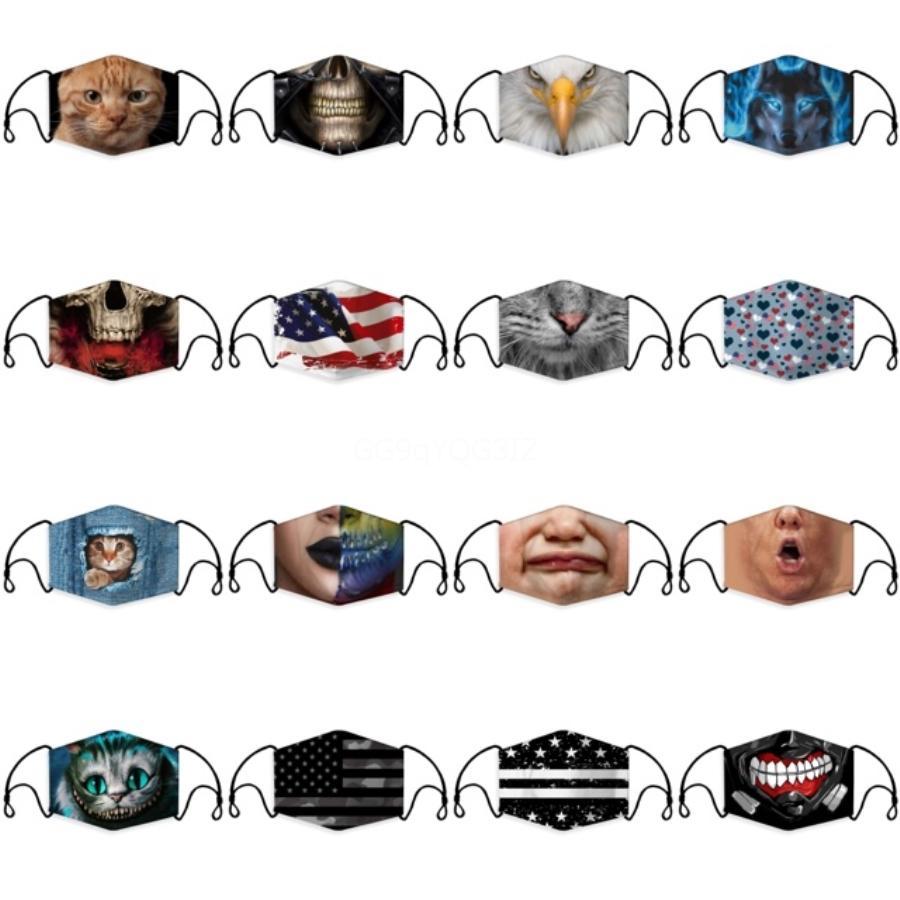 Drapeau Etats-Unis Masque Indépendance Masques Visage antipoussière Mode Masques Designer Impression 3D Masque Tissu lavable pour adultes et enfants # 992