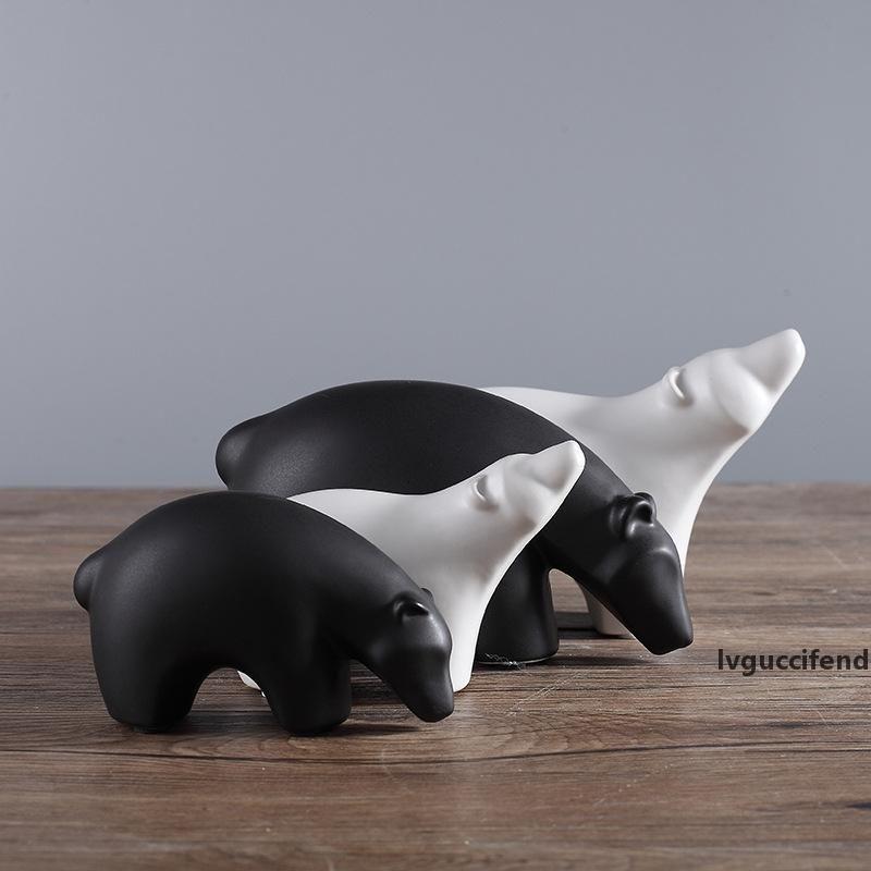 4pcs noir et blanc ours polaire Céramique Figurines Statues animaux Ornements Artisanat européen moderne Décoration d'intérieur Bureau Décoration Vase 84
