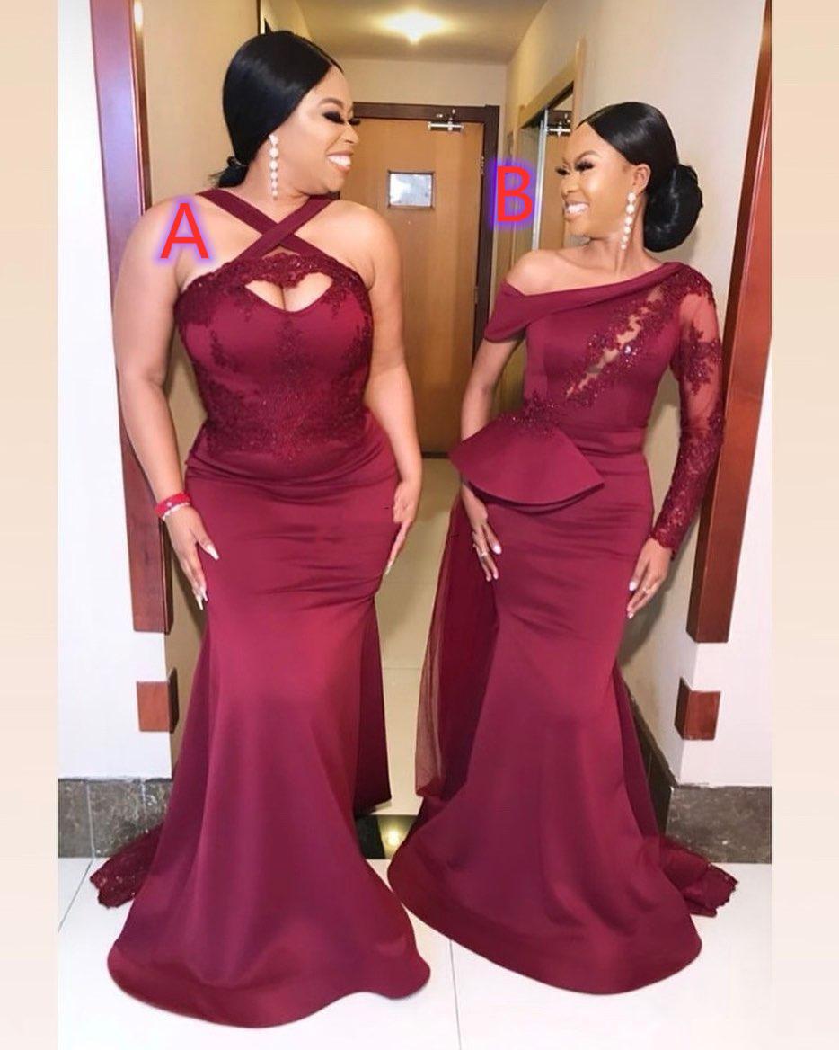 2020 Mermaid Gelinlik Modelleri Güney Afrika Düğün Konuk Parti Abiye Hizmetleri Onur Elbise Artı Boyutu
