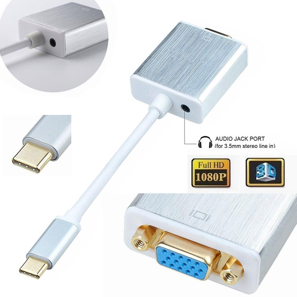 50pcs USB 3.1 TIPO C a VGA 1080P HDTV TYPE-C con l'adattatore audio per nuovo MacBook Google Chromebook Pixel SAMSUNG Huawei