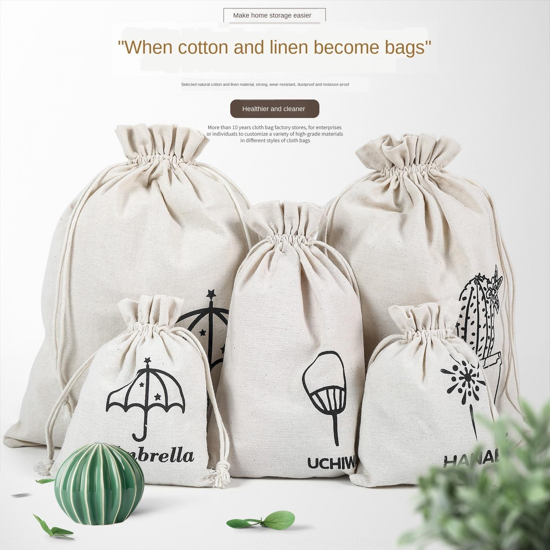 Cotton linen printed bundle pocket fabric drawstring toy cloth cotton and linen canvas storage travel canvas bag finishing bag