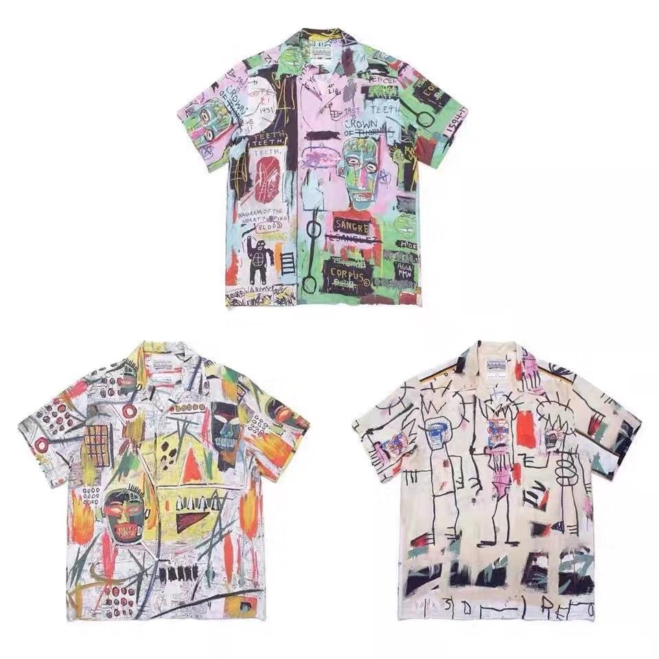 WACKO MARIA X BASQUIAT uomo casual t-shirt manica corta SESAME STREET L vestiti di modo tee outwear tee tops qualità
