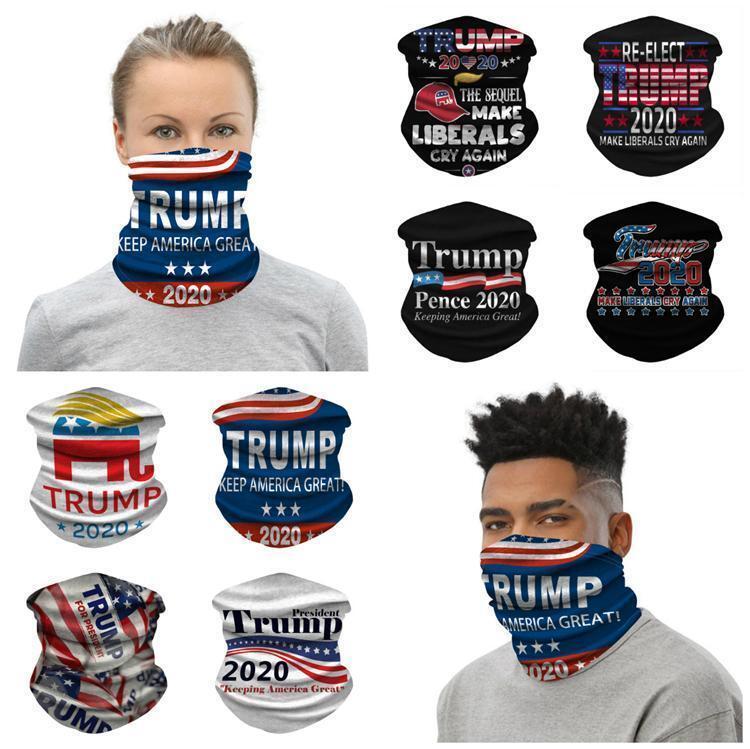 Trump 2020 Foulard Bandana Masque sans couture Magic Tube Keep America Great Bandeaux Sports de plein air Cyclisme Couvre-chef Neck Gaiter fy9156
