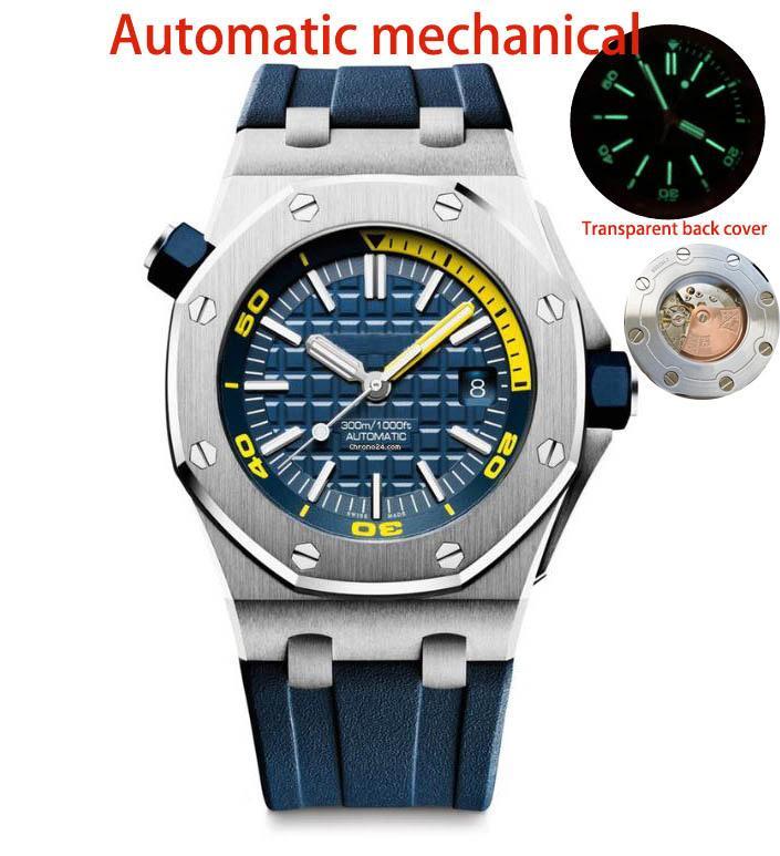 les hommes de luxe montre de qualité supérieure mouvement mécanique automatique Montre 15710 style classique montre-bracelet en caoutchouc bracelet sport Montres de plongée lumineuse
