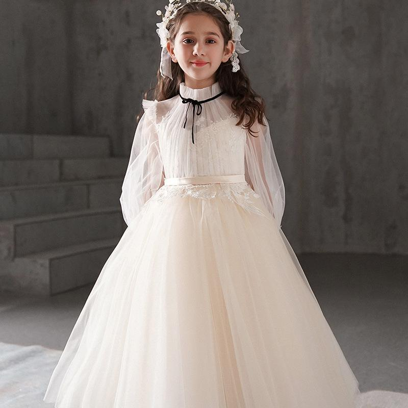 Perfect White Flower Girl Dresses Puffy Bow Sash Tulle First Communion Dresses O-Neck Lace Cap Sleeves Girl Wedding Party Dresses