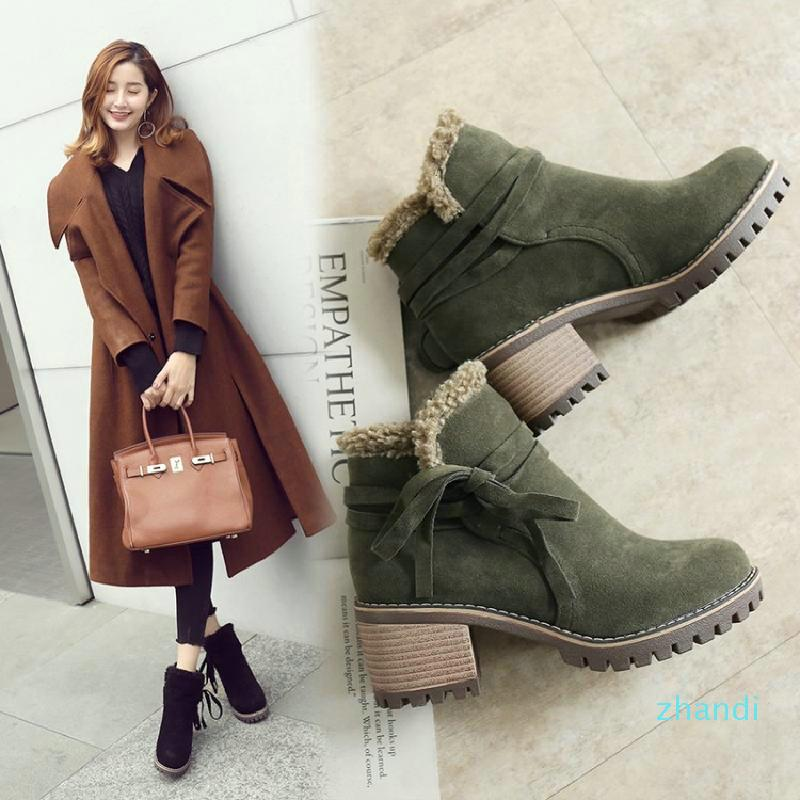 Hot sale2020 tornozelo tamanho grande 35-43 deslizamento-em 3 cores Sapatos Mulheres Adicionar quentes Shoes Fur Plataforma de Inverno Heel Praça da mulher da neve Botas Plush