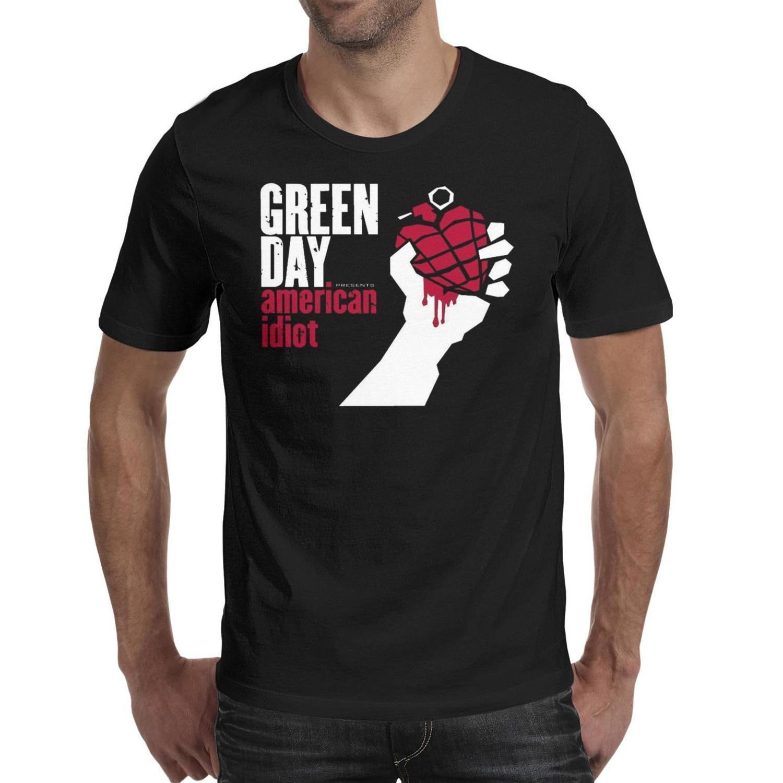 Moda Hombre Green-Rhythm-Day-Melody-Alternative Rock Negro Cuello redondo Camiseta Impresión Impresionante Camisas Green-Photo-Day-Cool-Dry-Rock I