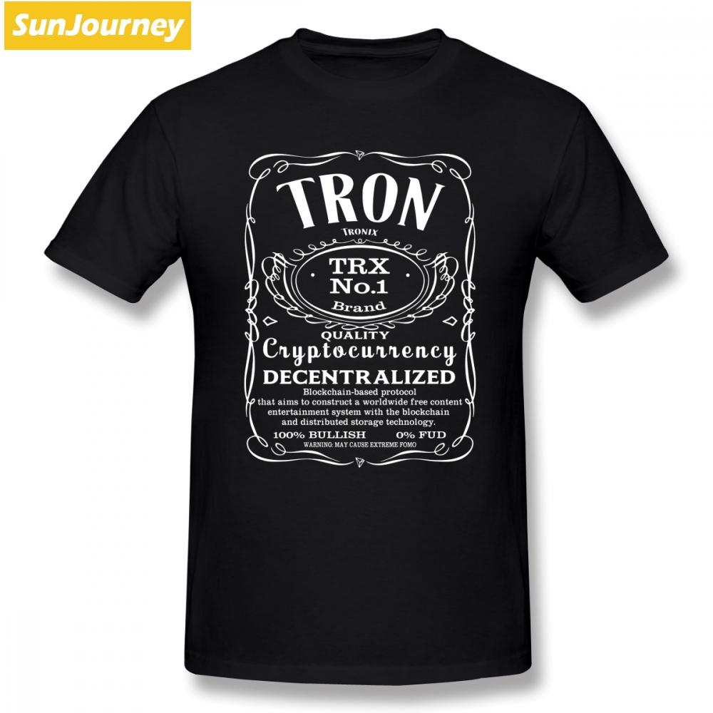 Tron Para Cryptocurrency Tişörtlü Kısa Kollu T-shirt Popüler Geek Artı boyutu Pamuk Crewneck Erkekler tişört
