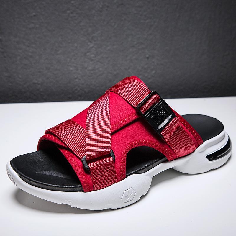 Мужчины анти-пропустить красный Слип на Gladiator Тапочки Мужчины Дизайнеров Благоустроенный пляж сандалии Мужской Super Cool Mule обуви Sandalss