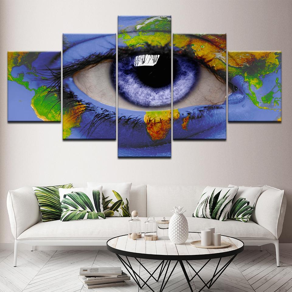 5 piezas de arte de la lona impresión de HD de colores abstractos pinturas de la pintada por un ojo pared de la sala Impresiones Imagen ilustraciones envío