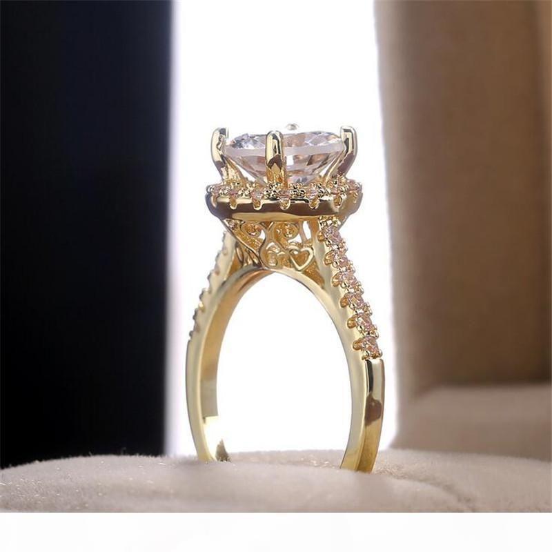 Un espumoso lujo de la joyería 925 de plata redondo de corte Big White Topaz diamante de la CZ Sona piedras preciosas mujeres novia de la boda del anillo para el amante