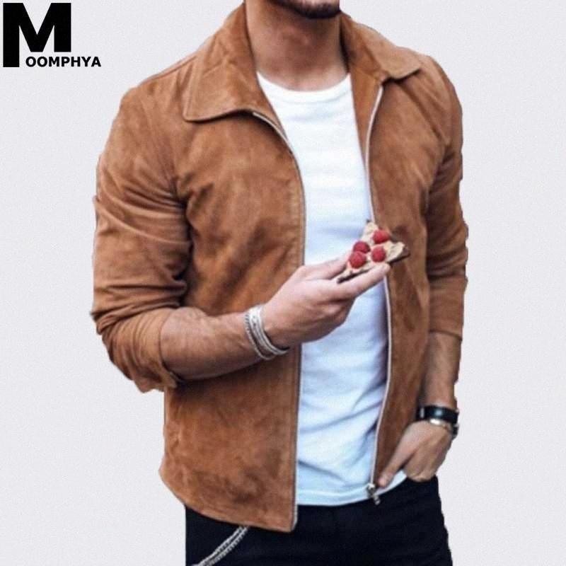 Moomphya 2019 New Street Langarm Suede Fabric Jacke Männer beiläufige Mannjackenmantel outwear Mantel chaqueta hombre 4ar4 #