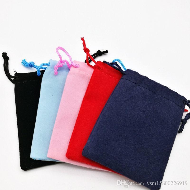 9 * 7 cm 100 ADET Halat Fannelette Kadife Çanta Kulaklıklar Küçük Düğün Şeker Ambalaj Takı Hediye Çanta Beş Renk Kırmızı Koyu Mavi Siyah Pembe