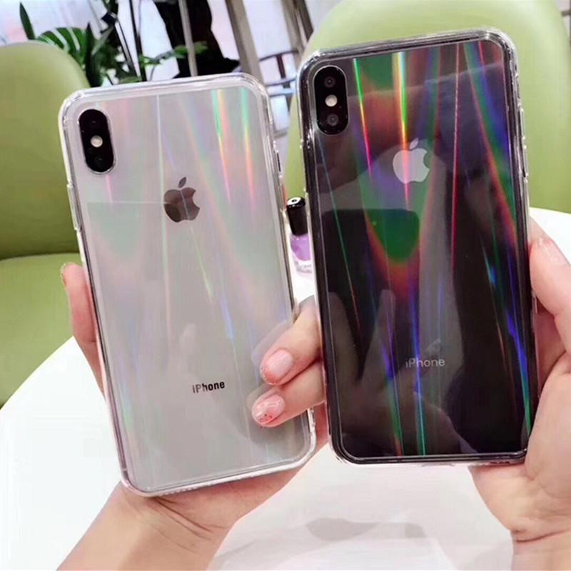 Gradient Rainbow Clear Laser Phone Cases For iPhone 12 11 Pro Max X XS Max XR 8 7 6 Plus SE2 Transparent Soft Acrylic Back Cover On i 12Mini