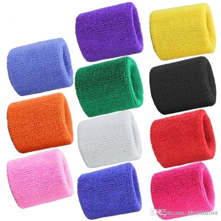 ht al por mayor de 10 pares Atlética muñeca Sweatbands algodón tela de toalla Cinta deportiva del pelo Brace pulseras Deportes Tenis Squash Badminton Baloncesto Gimnasio