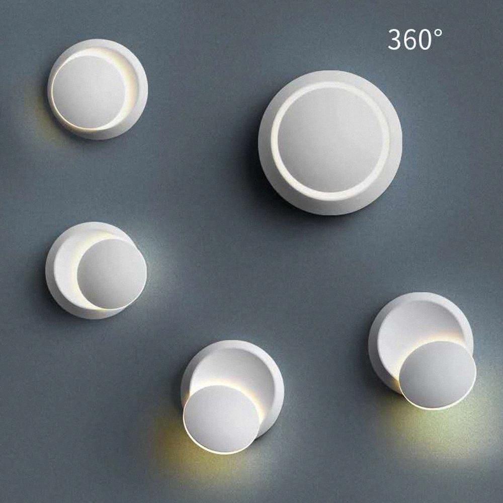 90-260v Led Chip Duvar Lambası 360 Derece Dönme Ayarlanabilir Başucu Işık Yenilikçi Duvar Lambaları Koridor Yuvarlak Siyah Modern Sevgili Hindistancevizi #