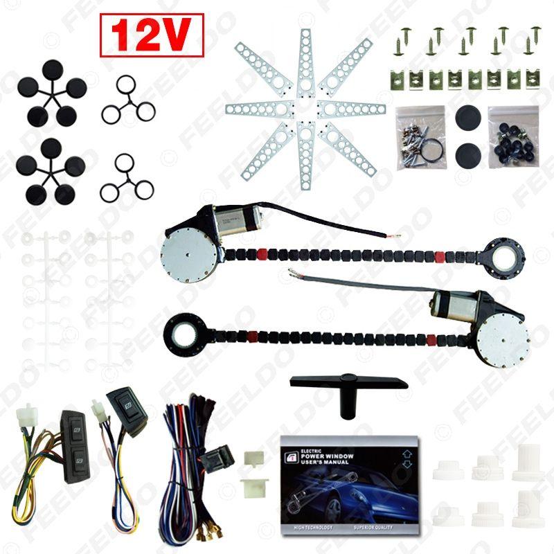 Leewa Car Auto Universal 2-Türen Elektrische Stromfenster-Kits mit 3pcs / set Switches und Kabelbaum # 902