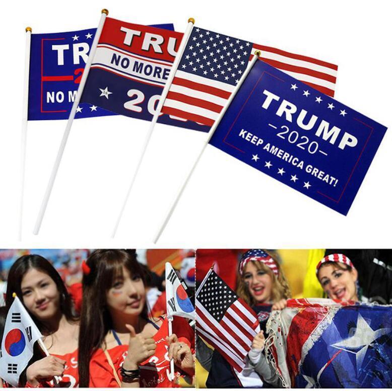 Trump Handmarkierungsfahne 10pcs / set 14 * 21cm Donald Trump Fliegen USA Hand Flag Trump 2020 Election Banner Flaggen OOA8049