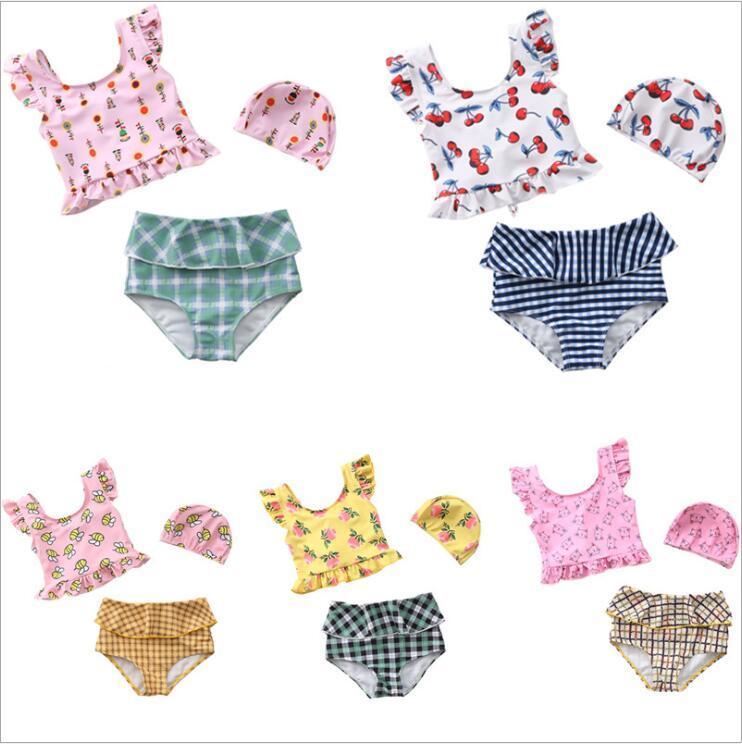 Baby Girls Swimsuits Bikini Sets Kids Ruffle Tops Shorts Swim Caps Swimwear Bathing Suits Plaid Striped Briefs Two-Pieces Beachwear B7606