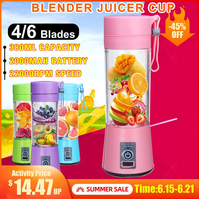Portable Fruit Juicer 6 Lames 380 ml Portable électrique Accueil USB rechargeable Smoothie Maker Bouteille Blenders machine de sport Coupe Juicing