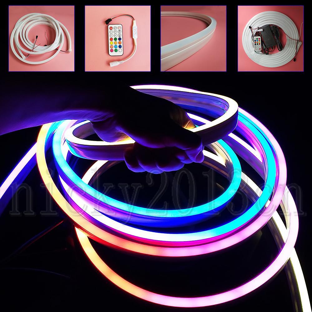 12V 5M WS2811 Adressierbarer 5050 RGB LED Pixel Neonröhre flexibe Streifen-Licht 300LEDs Flach 10mm * 20mm IP67 wasserdichte magische Farben-Änderungs-Zeichen