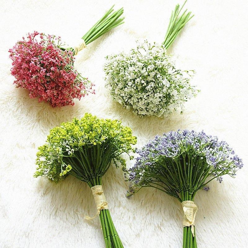 Decor 16pcs Flores artificiais Falso Gypsophila DIY Jardim Casamento Casa Natal Para Casa Planta da decoração da parede UHsq #