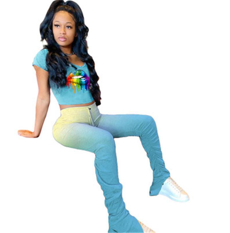 Kadınlar Gradyan Dudaklar Moda Hip Hop Kısa Kollu Tees İki Parça Setler Giyim Tasarımcı Kadın Gevşek Yuvarlak Yaka Pantolon Eşofman Takımları