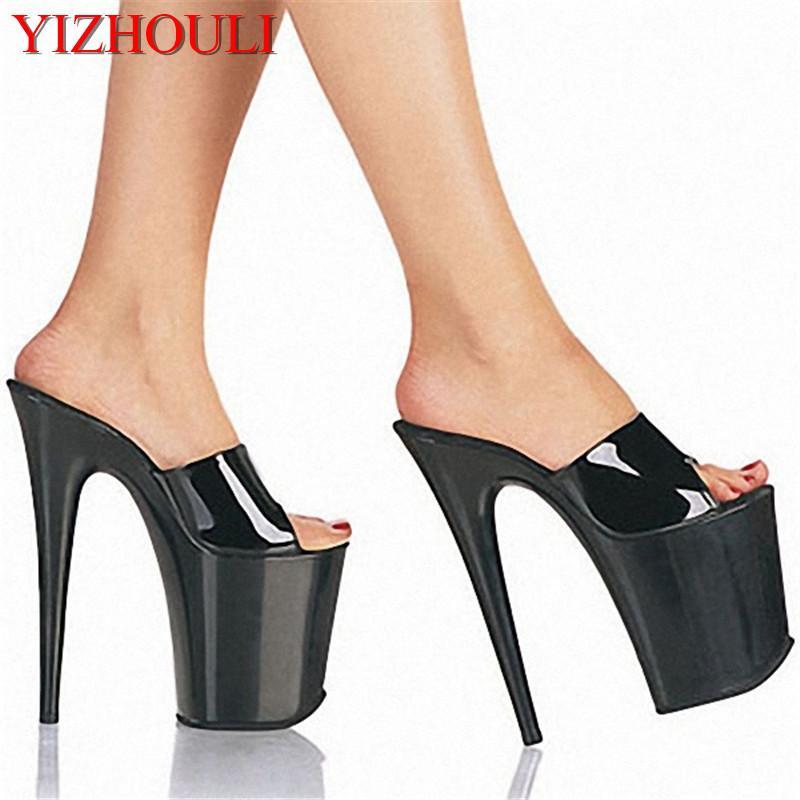 Sandali 8 pollici scarpe da sandalo tacco alto sexy stripper scivolo 20 cm tacchi tacchi nero piattaforma nelle donne