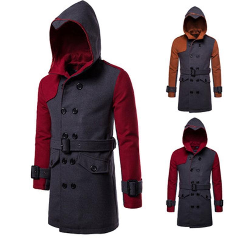 L'autunno e l'inverno di lana oversize lunga giacca a vento di cotone giacca spessa cappotto grigio giacca 3XL degli uomini caldi degli uomini del cappotto miscela