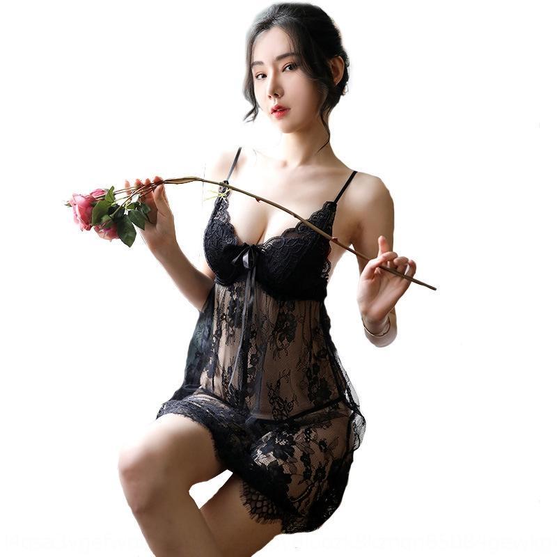 Amor Ruru nueva malla con camisón atractivo casa ropa interior de encaje encaje en el pecho almohadilla atractivo de las mujeres de la ropa interior transparente MaUgR